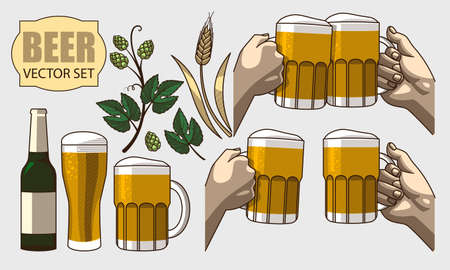 stout: Monochrome graphic set of beer, wheat and hops Illustration