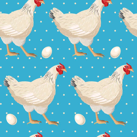 cute graphic: White hen ang egg vector seamless background