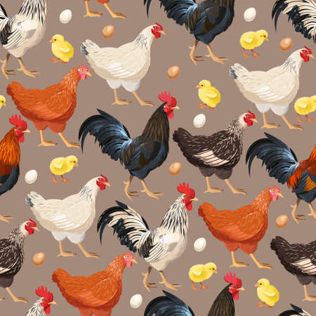 Detailed colorful hens vector seamless background pattern Stock Illustratie