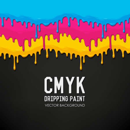 Dripping cyan, magenta, yellow and black paint vector background Illustration