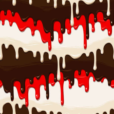 glaze: Chocolate and colorful glaze vector seamless background