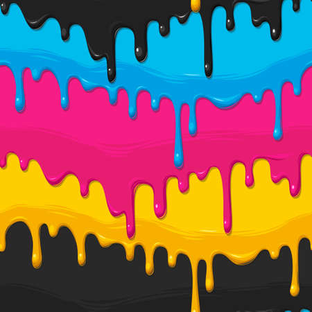 drippy: Dripping cyan, magenta, yellow and black paint vector seamless background