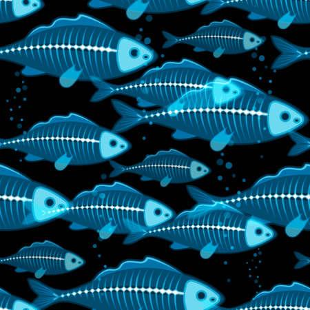 school of fish: X-ray school of fish vector seamless background Illustration