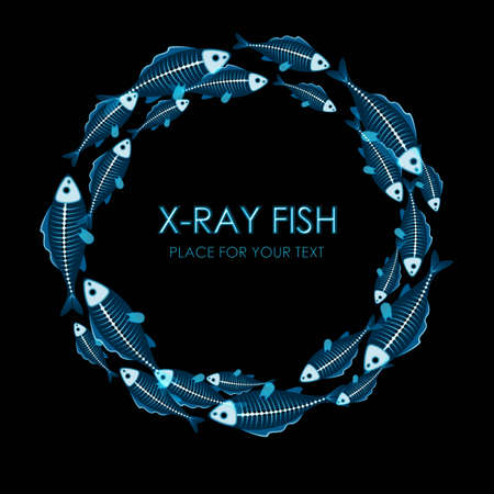 rentgen: Circle of X-ray fish on black background with copy space Illustration