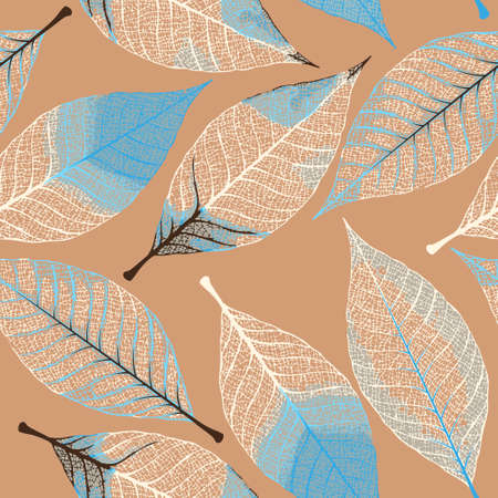 White skeletonized decorative leaves vector seamless background