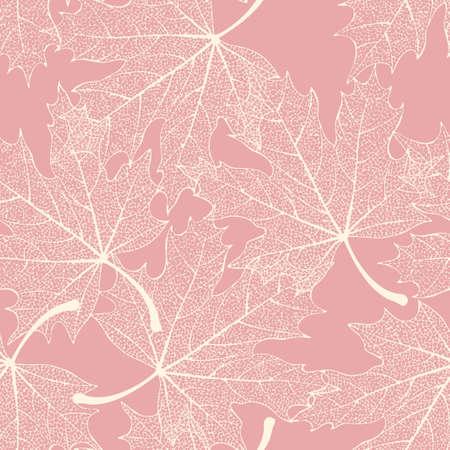 White skeletonized decorative leaves vector seamless background