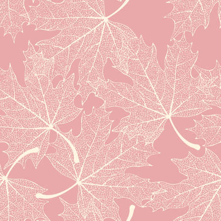 White skeletonized decorative leaves vector seamless background Фото со стока - 49798160