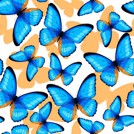 butterfly background: Blue tropical butterflies and butterfly silhouettes vector seamless background Illustration
