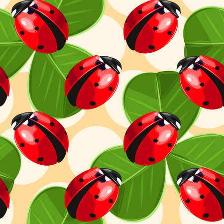 seamless clover: Colorful ladybug and clover vector seamless background