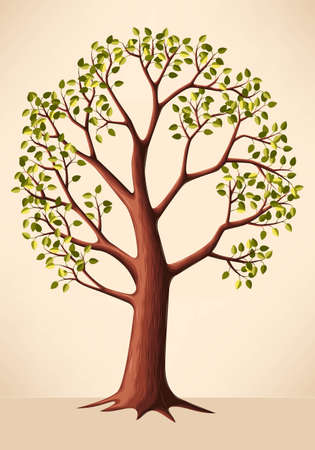 Vector illustration of high detailed green tree