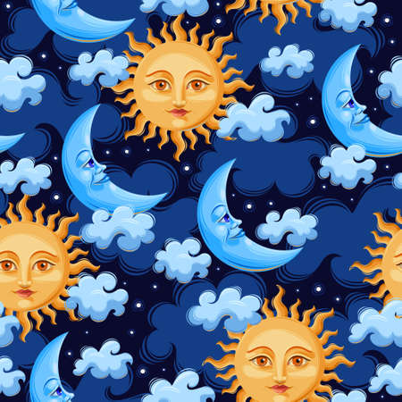 mythic: Sun and moon with human faces vector seamless background
