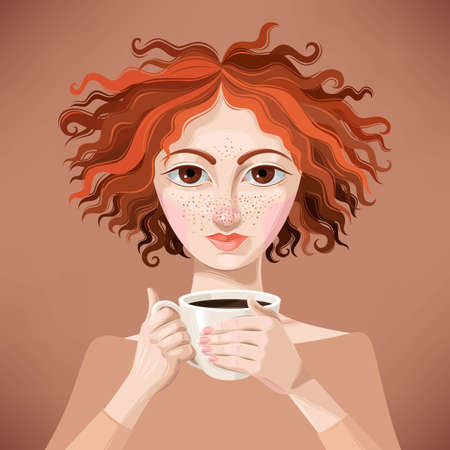 freckles: Vector illustration of pretty ginger girl with cup of coffee