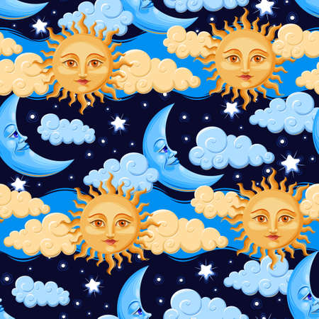 Sun and moon with human faces vector seamless background