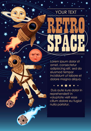 Rocket and astronaut in outer space vector background with sample text