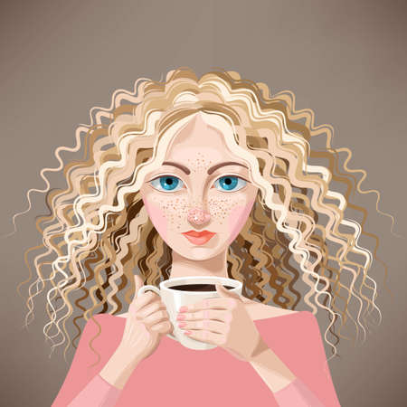 freckles: Vector illustration of pretty blonde girl with cup of coffee