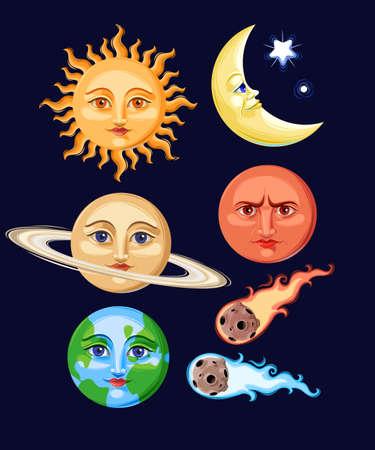sun set: Vector set of stylized vintage space objects