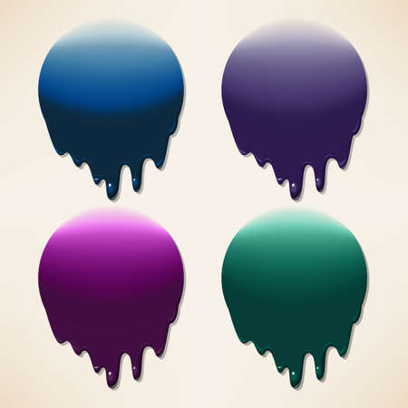 Vector set of dripping colorful ink splatters