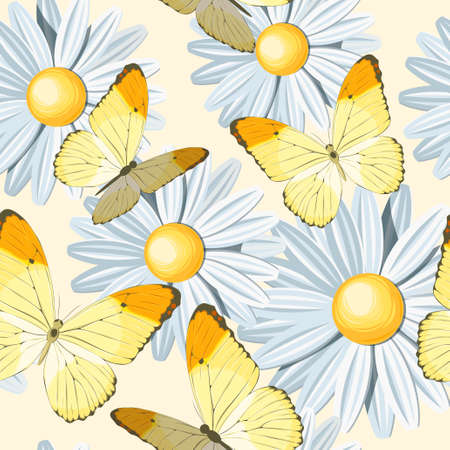 Camomile and yellow butterflies vector seamless background Illustration