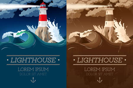 Vector illustration of lighthouse on the rock