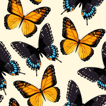 swallowtail: Blue tropical butterflies and butterfly silhouettes vector seamless background Illustration