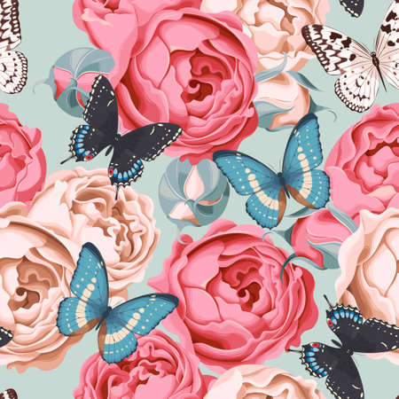 Peony roses and butterfly seamless background
