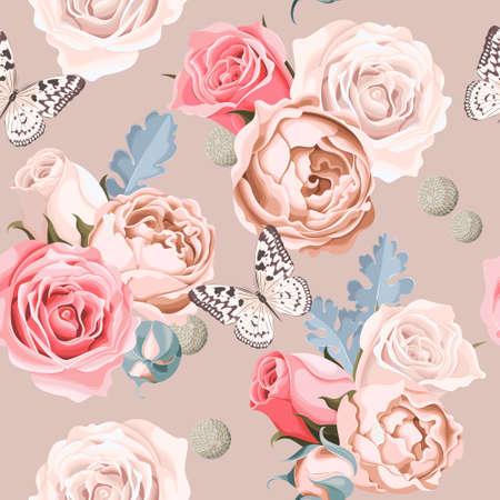 flores de la boda de la vendimia de fondo sin fisuras
