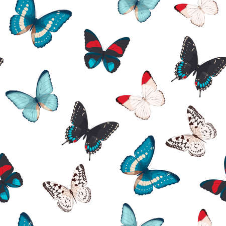 high detailed: High detailed colorful butterflies seamless background Illustration