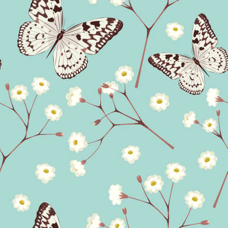 twigs: White gypsophila twigs and butterfly vintage seamless background