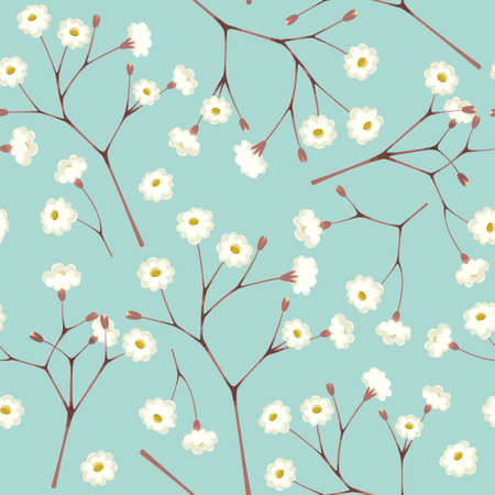 twigs: White gypsophila twigs vintage seamless background