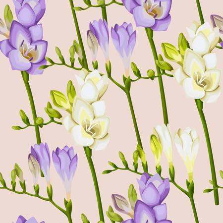 twigs: blooming freesia twigs seamless background Illustration