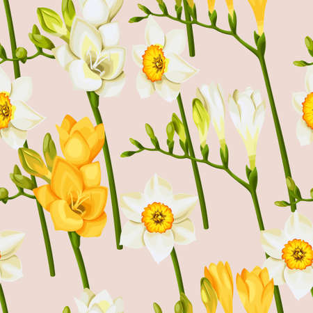 daffodil: freesia and daffodil  seamless background
