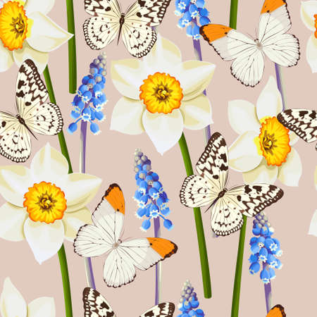 daffodil: daffodil, muscari and butterfly seamless background