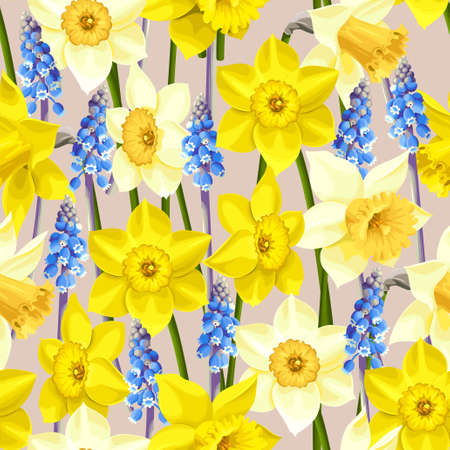 daffodil: daffodil and muscari seamless background
