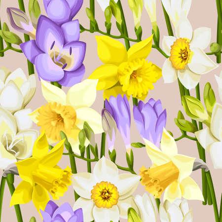 freesia: freesia and daffodil seamless background