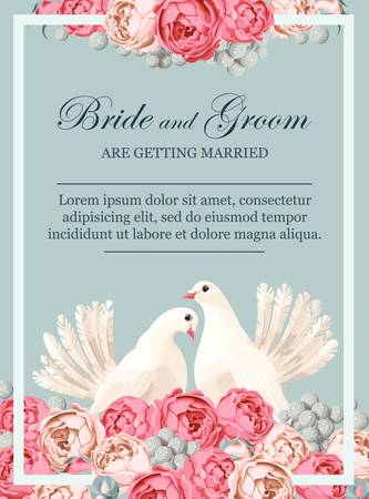 Vintage wedding invitation with white doves and peony roses