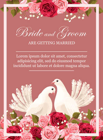 Wedding invitation with white doves and peony roses Illustration