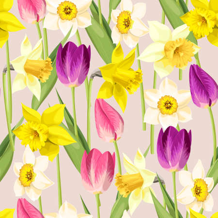 Vintage high detailed tulip and daffodil vector seamless background