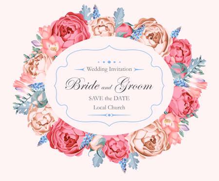 Vector de invitación de la boda de la vendimia adornado con rosas de peonía