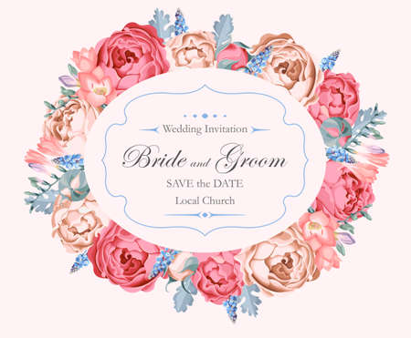 Vector Vintage-Hochzeitseinladung mit Pfingstrosen Rosen geschmückt