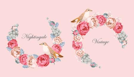 ruiseñor: vector de la tarjeta hermosa de la vendimia con las rosas de peonía corona y el ruiseñor Vectores