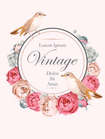 vector de la tarjeta hermosa de la vendimia con las rosas y ruiseñores peonía