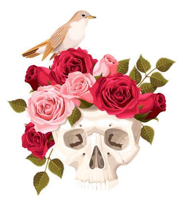 ruiseñor: Ilustración del vector del cráneo humano de la vendimia con las rosas y el ruiseñor