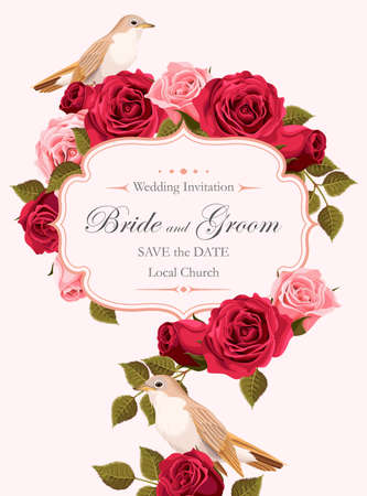 Vector vintage wedding invitation with pink and red roses and nightingale