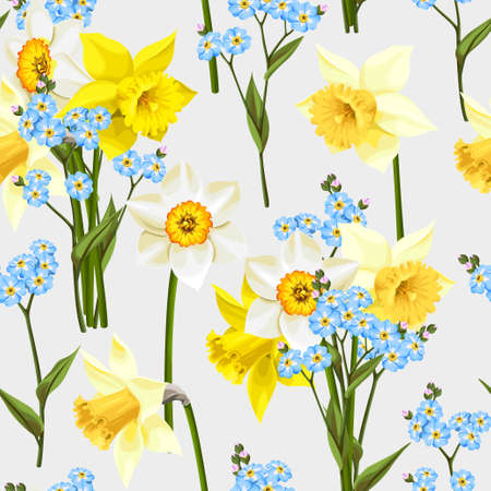 daffodil: Beautiful forget me not flowers and daffodil vector seamless background