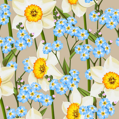 forget me not: Beautiful forget me not flowers and daffodil vector seamless background