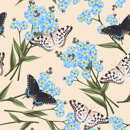 forget me not: Vintage forget me not flowers and butterflies vector seamless background