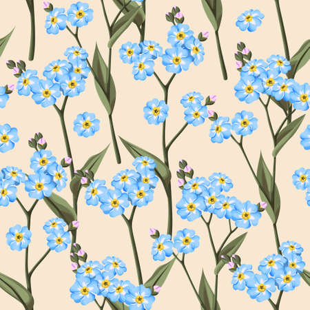 forget me not: Vintage forget me not flowers vector seamless background