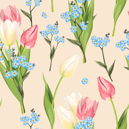 forget me not: Beautiful forget me not flowers and tulip vector seamless background