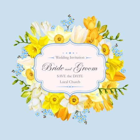 Vector vintage wedding invitation decorated with spring flowers