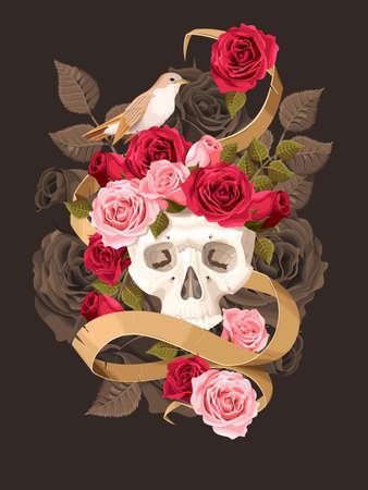 ruiseñor: Ilustración del vector del cráneo humano de la vendimia con las rosas y el ruiseñor sobre fondo oscuro